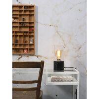Tischlampe ATHENS Glas/Marmor Schwarz