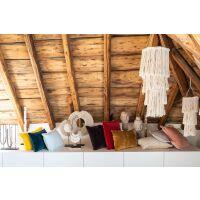 Kissen mit Fransen FARA Velours 30x50 cm Rubis