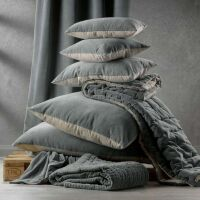 Kissen ELISE Velours/Baumwolle 45 x 45 cm Hellbraun