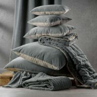 Kissen ELISE Velours/Baumwolle 45 x 45 cm Vert de Gris