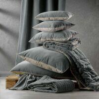 Kissen ELISE Velours/Baumwolle 45 x 45 cm Cobalt