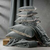 Kissen ELISE Velours/Baumwolle 30 x 50 cm Ficelle