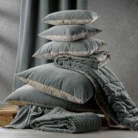 Kissen ELISE Velours/Baumwolle 40 x 65 cm Craie