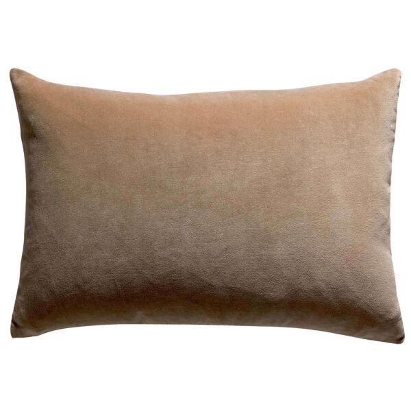 Kissen ELISE Velours/Baumwolle 40 x 65 cm Camel