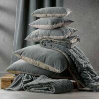 Kissen ELISE Velours/Baumwolle 40 x 65 cm Ficelle