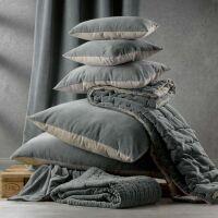 Kissen ELISE Velours/Baumwolle 40 x 65 cm Vert de Gris