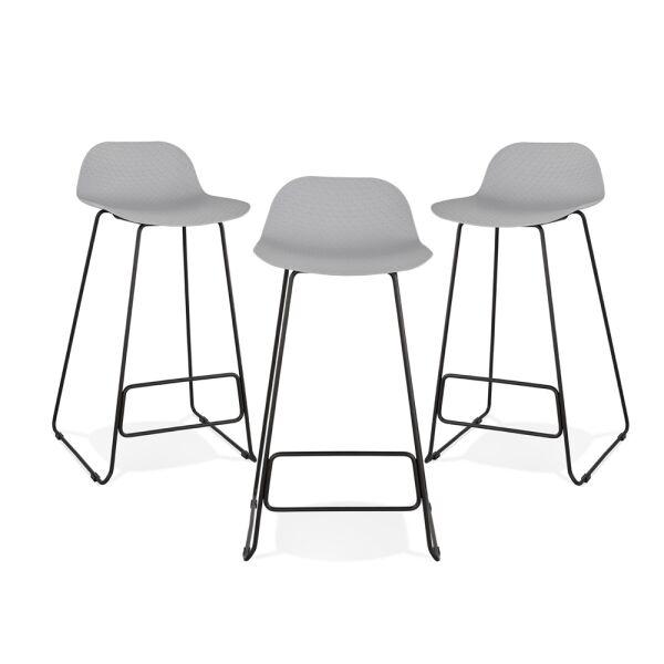 Barhocker SLADE Kunststoff Schwarz/Grau, 3er-Set
