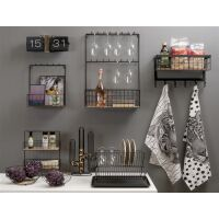 Großes Küchenregal für Gläser und Flaschen schwarz