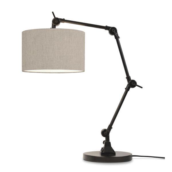 Tischlampe AMSTERDAM Retrostyle mit Leinenschirm Leinen hell