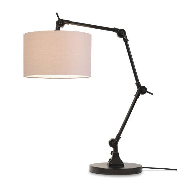 Tischlampe AMSTERDAM Retrostyle mit Leinenschirm Taupe