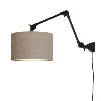 Wandlampe AMSTERDAM Gr. M Retrostyle mit Schirm Leinen dunkel