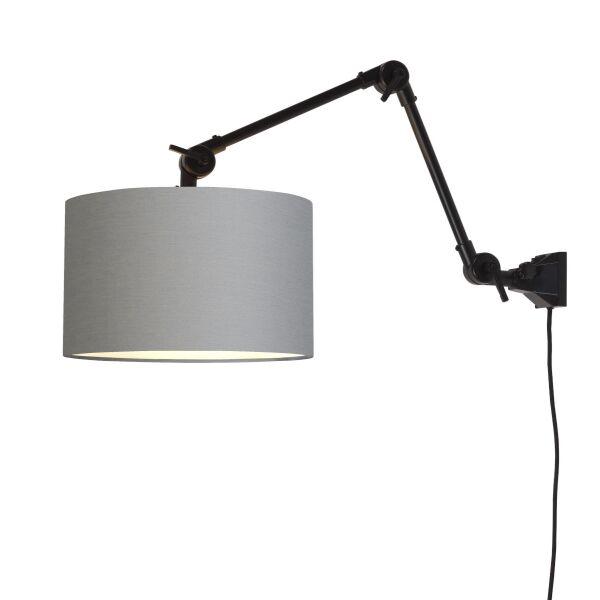 Wandlampe AMSTERDAM Gr. M Retrostyle mit Schirm Hellgrau