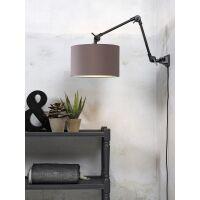 Wandlampe AMSTERDAM Gr. M Retrostyle mit Schirm Smoke Grau