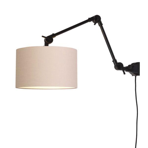Wandlampe AMSTERDAM Gr. M Retrostyle mit Schirm Taupe