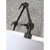 Wand-/Hängelampe AMSTERDAM Gr. L Retrostyle mit Schirm Leinen dunkel