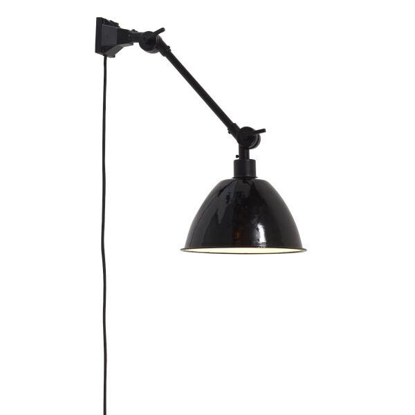 Wandlampe AMSTERDAM Emaille Schwarz Retrostyle, Gr. S