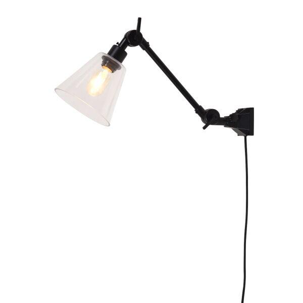 Wandlampe AMSTERDAM Schwarz mit Glasschirm, Gr. S