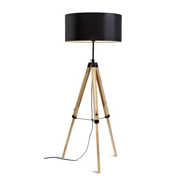 Stehlampe DARWIN Natur schwarz/Schirm Ø60cm
