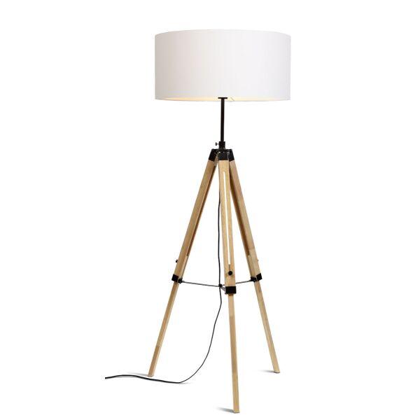 Stehlampe DARWIN Natur schwarz/Schirm Ø60cm White