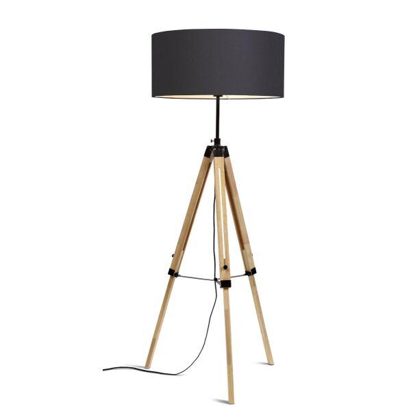 Stehlampe DARWIN Natur schwarz/Schirm Ø60cm Dark Grey