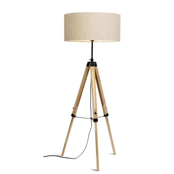 Stehlampe DARWIN Natur schwarz/Schirm Ø60cm Leinen hell