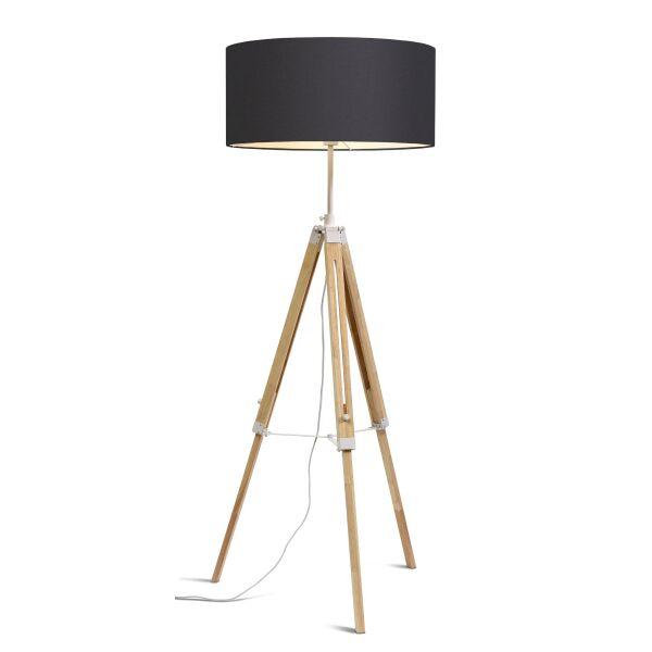 Stehlampe DARWIN Natur weiß/Schirm Ø60cm Dark Grey