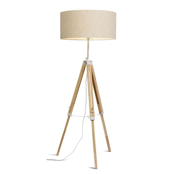 Stehlampe DARWIN Natur weiß/Schirm Ø60cm Leinen hell