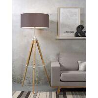Stehlampe DARWIN Natur weiß/Schirm Ø60cm Smoke Grau