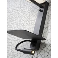 Wandleuchte FLORENCE m. Ablage, USB-Anschluß und Leselampe Dark Grey