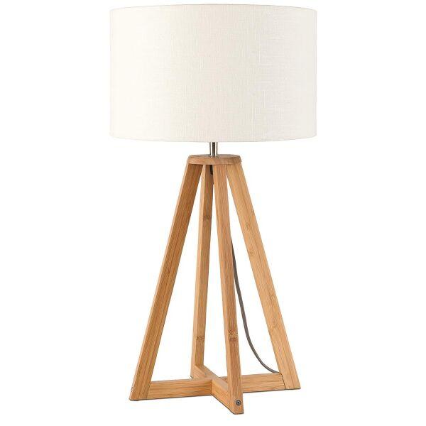 Tischlampe Everest Bambus Leinen Weiß