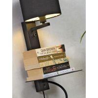 Wandleuchte FLORENCE m. Ablage, USB-Anschluß und Leselampe Leinen hell