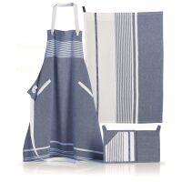 Kochschürze ARES Stonewash blau/creme gestreift