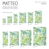 Vinyl Teppich MATTEO Grüne Blätter 118 x 180 cm