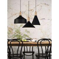Designer Hängelampe Melbourne schwarz-Holz H34