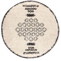 Runder Teppich SORA Berber-Muster Creme/schwarz