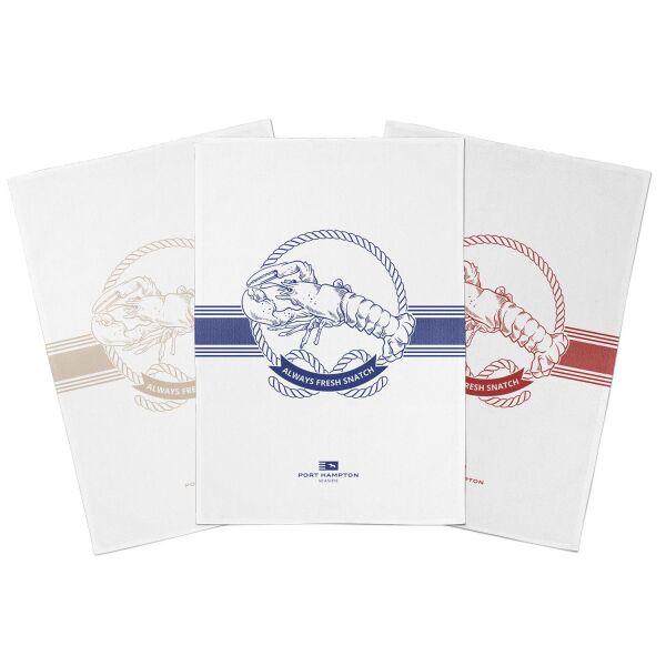 Geschirrtuch LOBSTER 100% Baumwolle 3er-Set blau/beige/rot