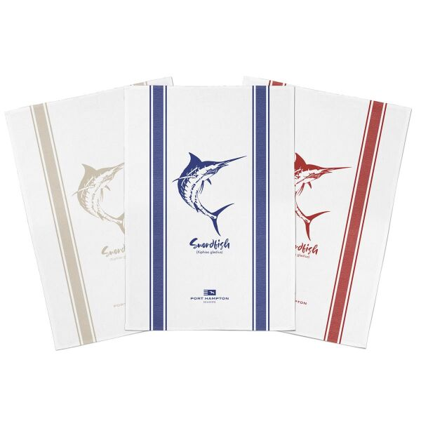 Geschirrtuch SWORDFISH 100% Baumwolle 3er-Set blau/beige/rot