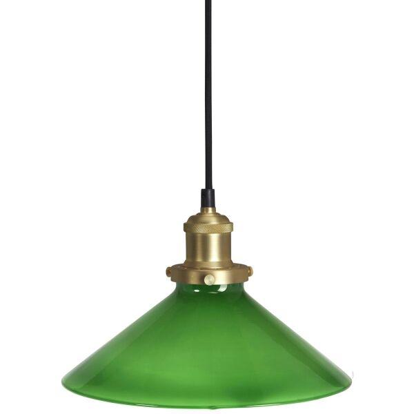 Fensterlampe AUGUST Glasschirm grün/Messing Ø25 cm