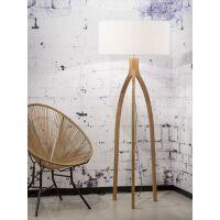 Stehlampe Annapurna Bambus Leinen Weiß