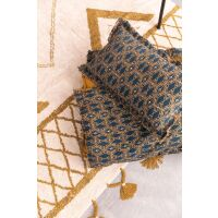Kissen TESS mit Fransen Pfau Petrol 40 x 65