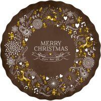 Vinyl Teppich MATTEO Merry Xmas Braun