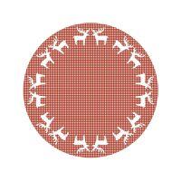 Vinyl Teppich MATTEO Elch-Bordüre Rot