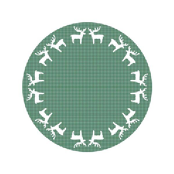 Vinyl Teppich MATTEO Elch-Bordüre grün