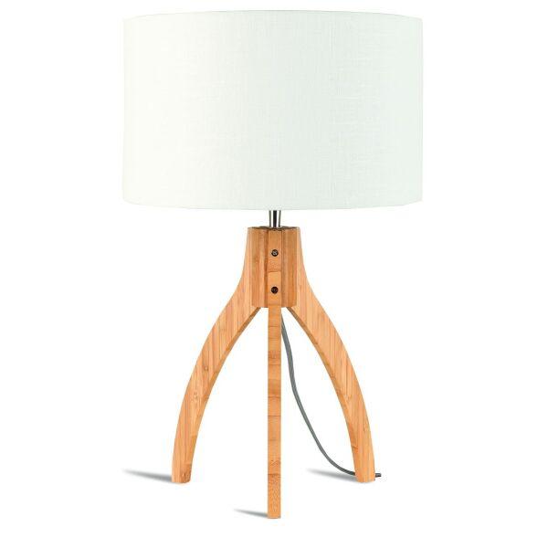 Tischlampe Annapurna Bambus Leinen Weiß