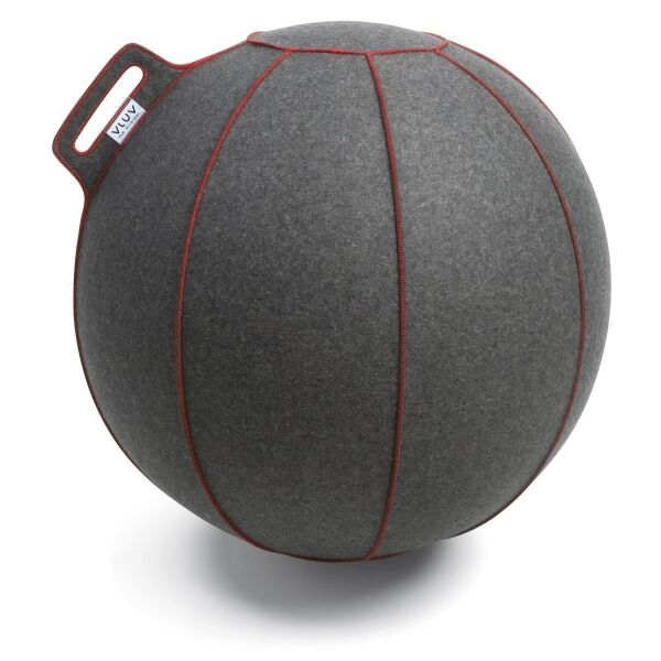 VLUV® VELT Sitzball aus Filz Grau Melange/Rot