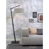 Stehlampe ANDES Bambus schwarz/Schirm Ø47cm hellgrau
