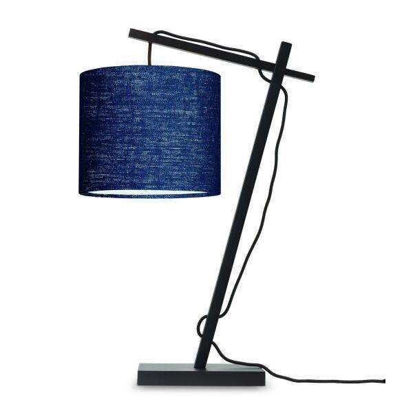 Tischlampe ANDES Bambus schwarz/Schirm Ø18cm Blue Denim