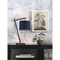 Tischlampe ANDES Bambus schwarz/Schirm Ø18cm Blue...