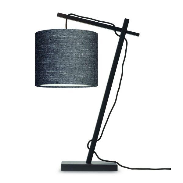 Tischlampe ANDES Bambus schwarz/Schirm Ø18cm Dunkelgrau