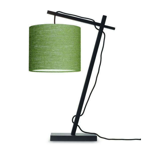 Tischlampe ANDES Bambus schwarz/Schirm Ø18cm Green Forest